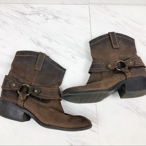 Mossimo Supply Brown Leather Cowboy Booties Size 7